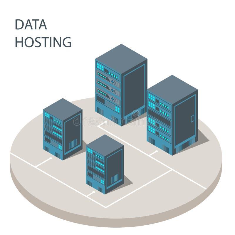 Los datos que reciben vector del cartel del concepto de las soluciones de la tecnología de la nube son imágenes de archivo libres de regalías