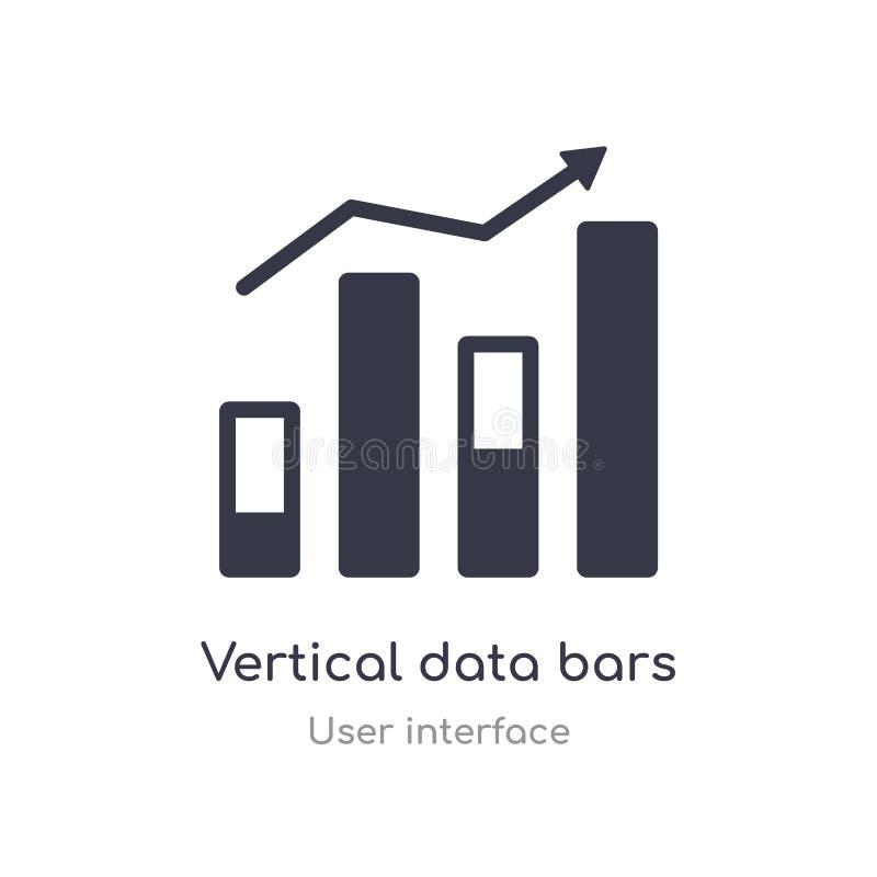 los datos verticales obstruyen el icono del esquema l?nea aislada ejemplo del vector de la colecci?n de la interfaz de usuario ve stock de ilustración