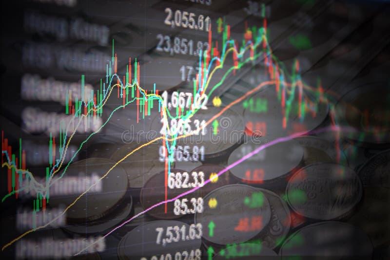 Los datos y la vela del mercado de acción de Asia Pacific pegan la carta del gráfico en monitor en fondo de las monedas fotografía de archivo libre de regalías
