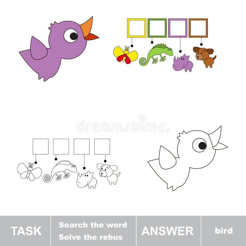 Los de rebus op Vind verborgen woordvogel stock illustratie