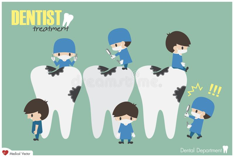 Los dentistas comprueban encima de sus dientes y buscan la carie dental Vector Diseño plano stock de ilustración