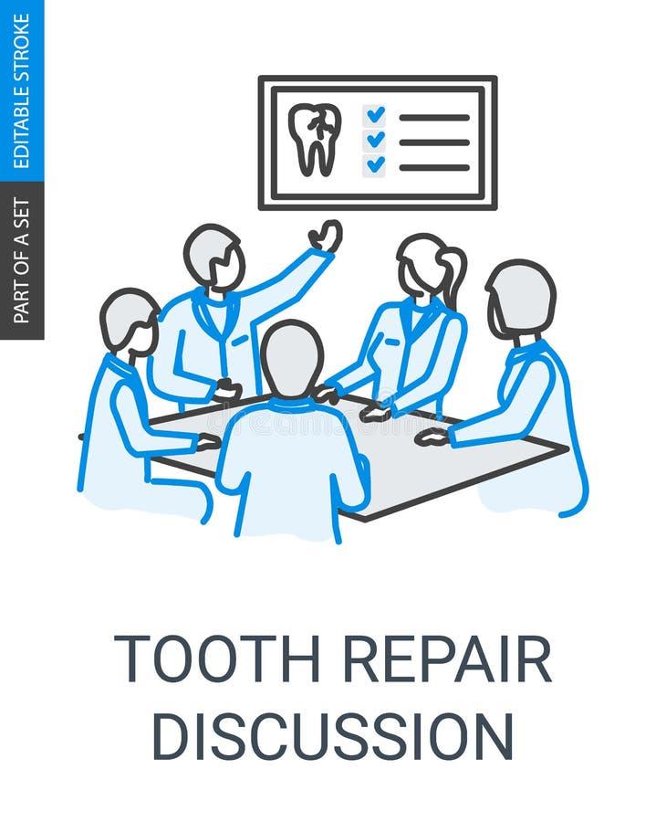 Los dentistas de la reparación del diente combinan el icono linear de la discusión stock de ilustración
