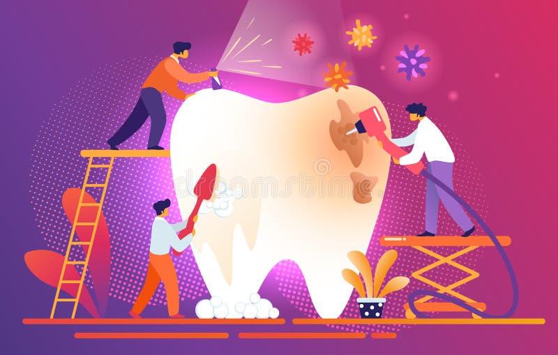 Los dentistas minúsculos limpian, diente malsano gigante de Treate ilustración del vector