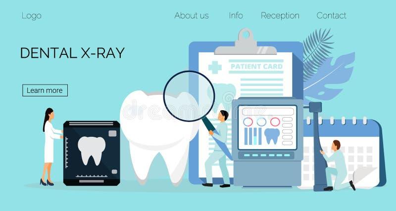 Los dentistas minúsculos trabajan, tratan el diente de la enfermedad Concepto dental del vector de la salud libre illustration