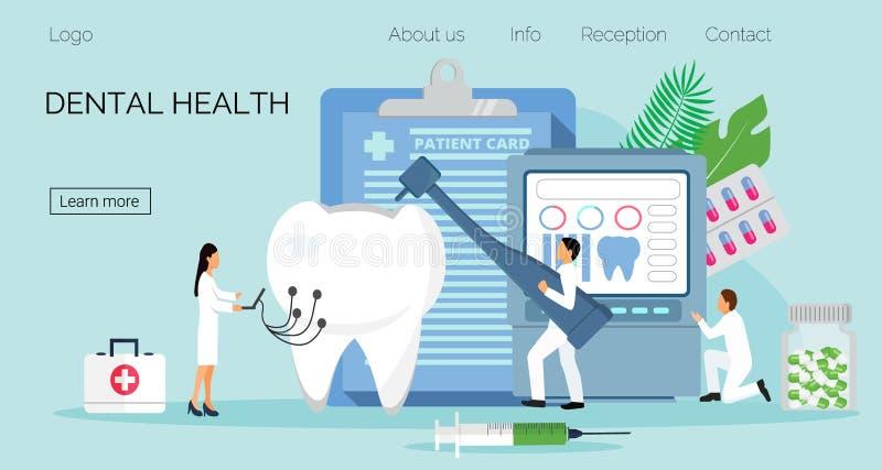 Los dentistas minúsculos trabajan, tratan el diente de la enfermedad Concepto dental del vector de la salud ilustración del vector