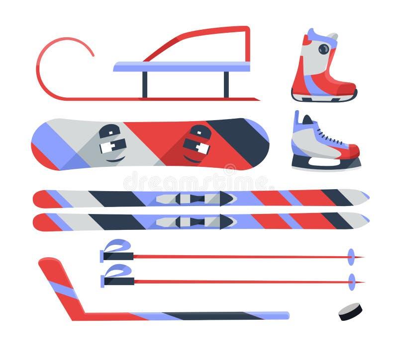 Los deportes de invierno se oponen, colección del equipo, iconos del vector, estilo plano ilustración del vector