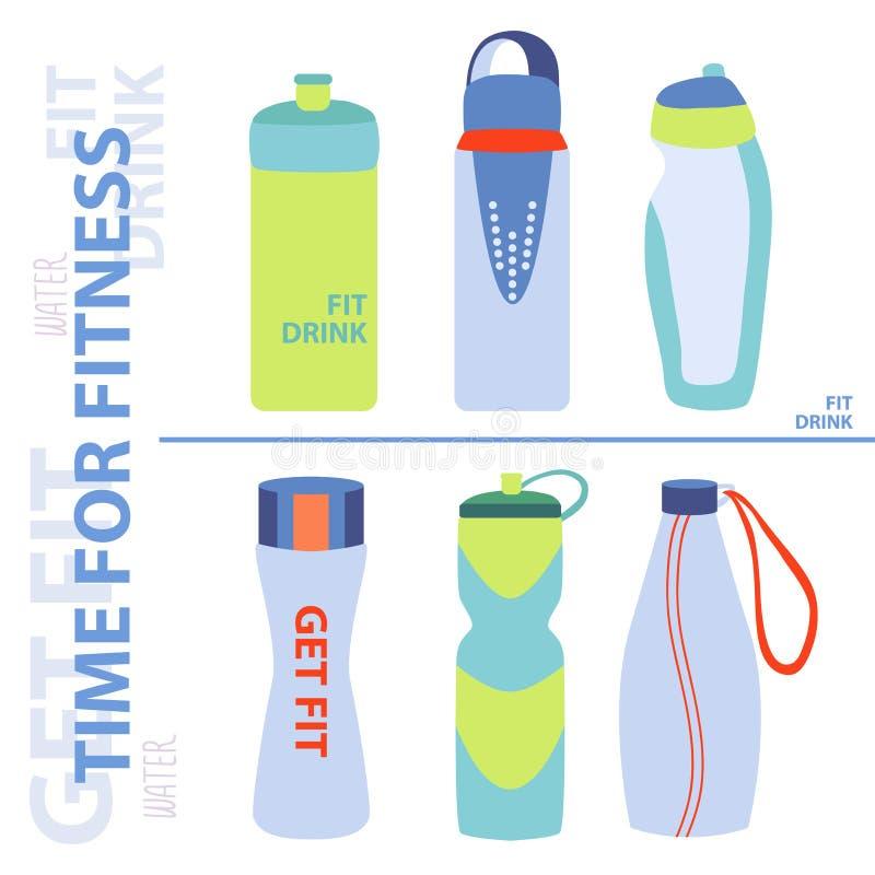 Los deportes embotellan para el agua Agua con el limón Hora para la salud Ejemplo en un fondo ligero ilustración del vector