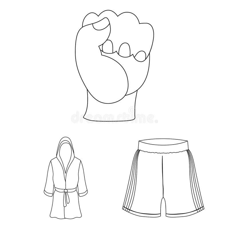 Los deportes extremos de encajonamiento resumen iconos en la colección del sistema para el diseño Boxeador y web de la acción del stock de ilustración
