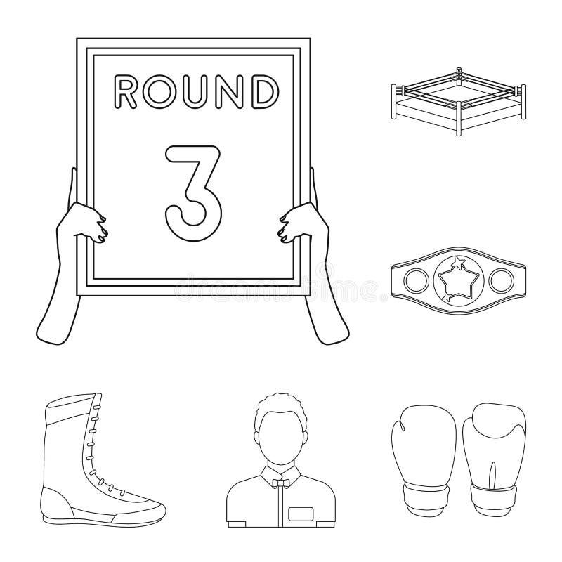 Los deportes extremos de encajonamiento resumen iconos en la colección del sistema para el diseño Boxeador y web de la acción del ilustración del vector
