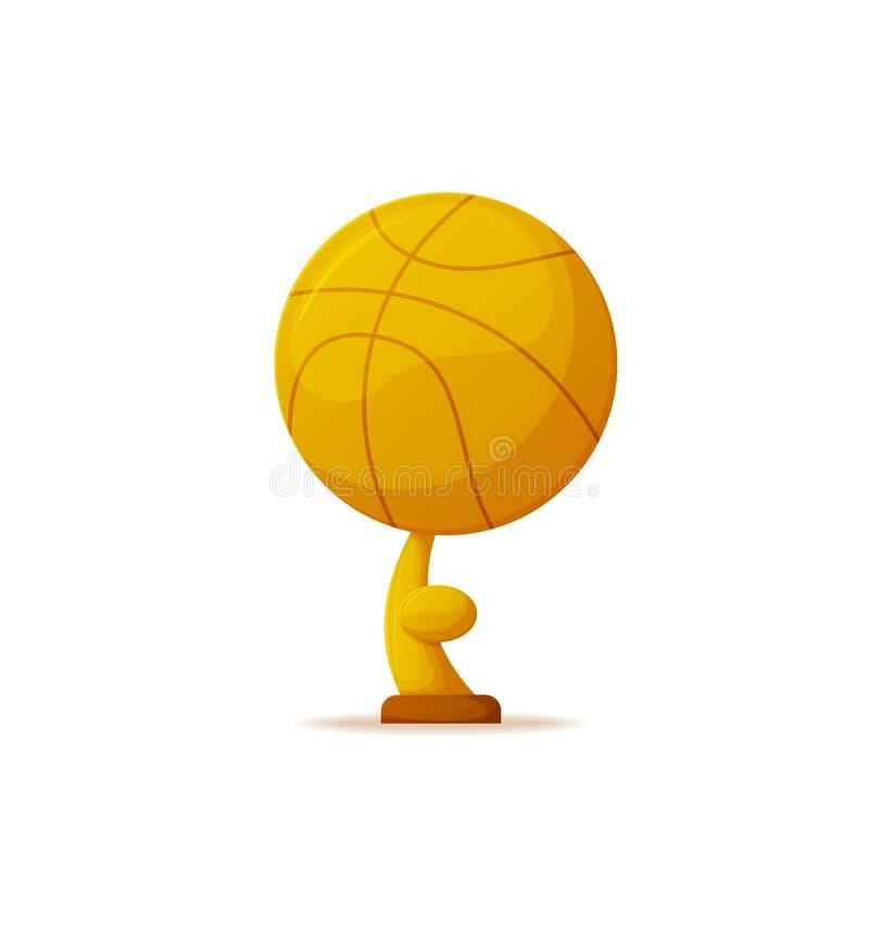 Los deportes recompensan, trofeo premiado de la bola del baloncesto del oro ilustración del vector