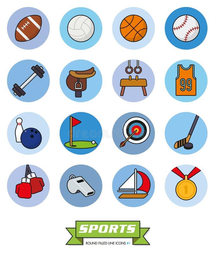 Los deportes redondos llenaron la línea iconos que el vector fijó 1 libre illustration