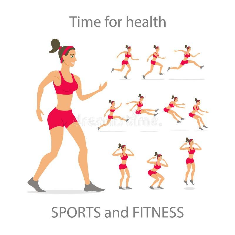 Los deportes rojos de la muchacha de baile jadean el minimalismo plano de la historieta, carácter, sistema del ejemplo del vector ilustración del vector