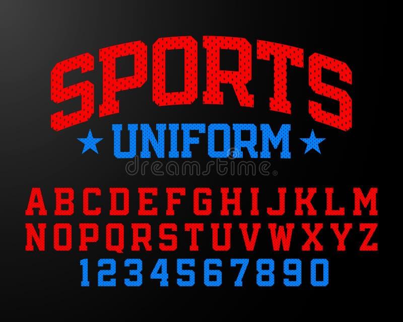 Los deportes uniforman la fuente del estilo stock de ilustración