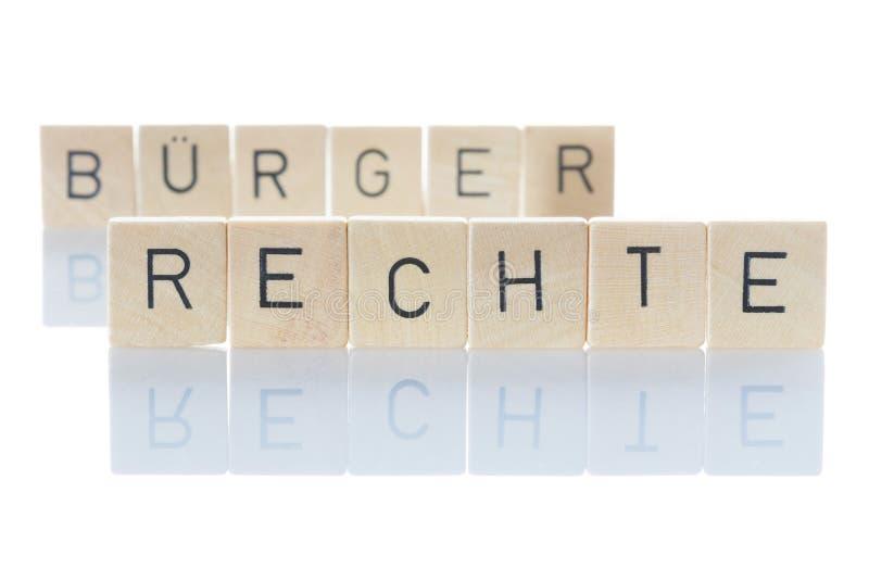 Los derechos civiles son la base de la democracia 'Bürgerrechte' como palabra aislada sobre fondo blanco fotos de archivo libres de regalías