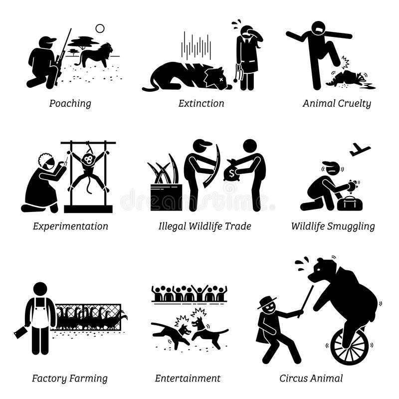 Los derechos de los animales y figura iconos del palillo de los problemas del pictograma stock de ilustración