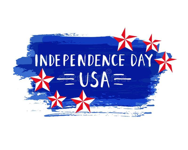 Los derechos dibujados mano del vector del diseño de letras del Día de la Independencia almacenan libremente el ejemplo perfecto  libre illustration