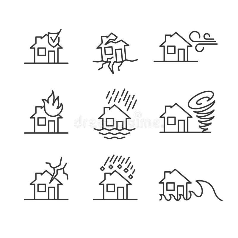 Los desastres naturales alinean símbolos del estilo Accidentes con los iconos de la casa fijados ilustración del vector