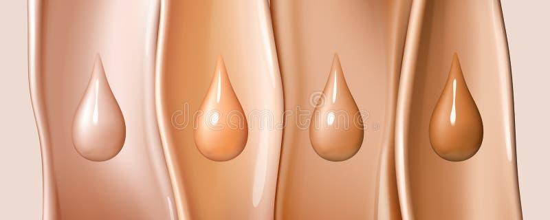 Los descensos líquidos de la fundación aislados en líquido coloreado fluyen fondo Textura cremosa de gotitas Elementos del diseño libre illustration