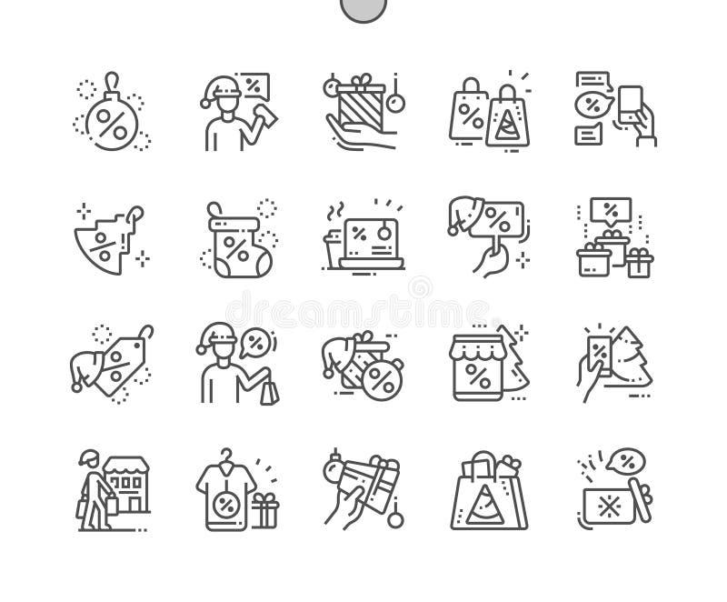 Los descuentos de la Navidad Bien-hicieron la línea fina rejilla 2x de los iconos 30 del vector a mano perfecto del pixel para lo ilustración del vector
