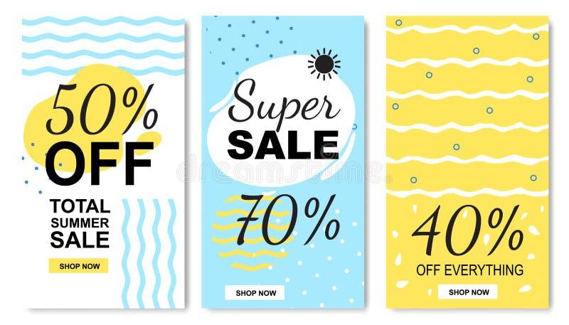 Los descuentos y las ventas totales del verano marcan el sistema con etiqueta plano stock de ilustración