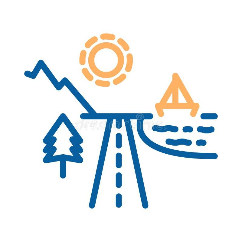 Los destinos del día de fiesta de la playa y de la montaña dividieron por un camino con el sol shinning libre illustration