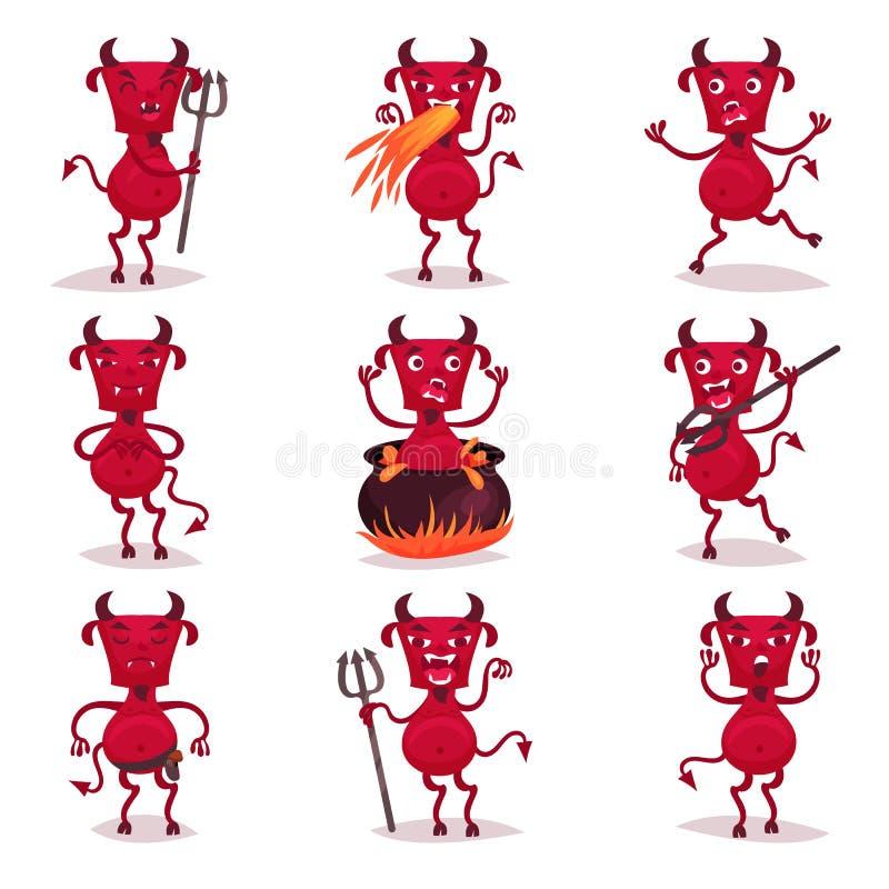 Los diablos rojos divertidos con los cuernos y las colas fijaron, los personajes de dibujos animados positivos del demonio con di ilustración del vector