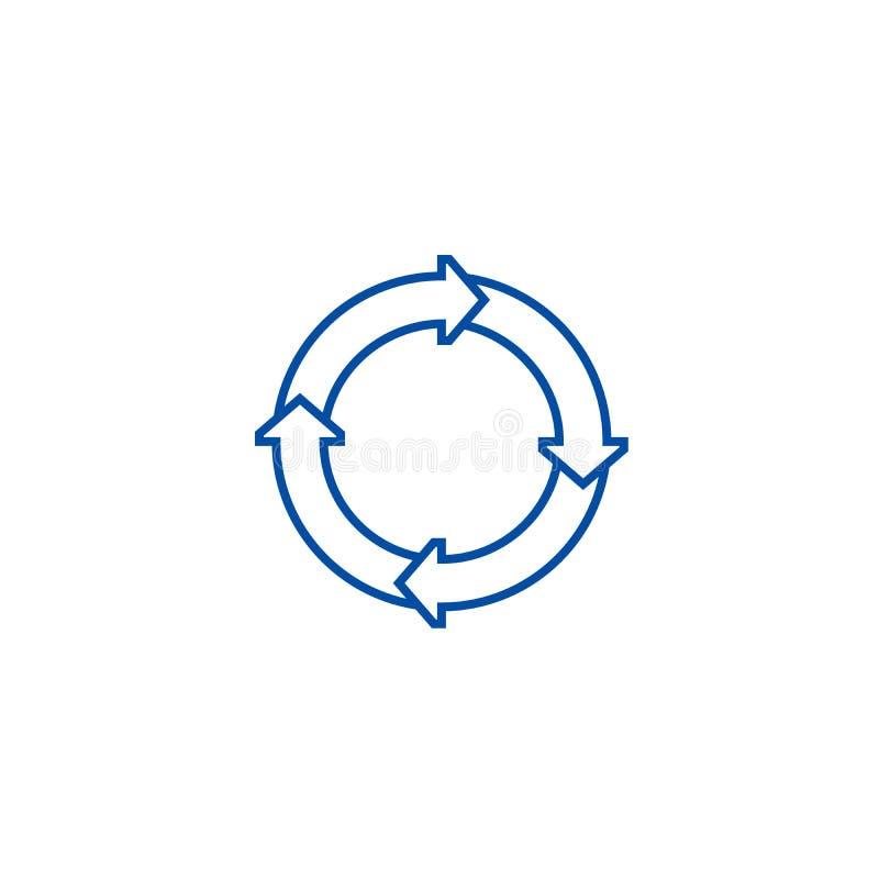 Los diagramas de proceso alinean concepto del icono Símbolo plano del vector de los diagramas del proceso, muestra, ejemplo del e libre illustration