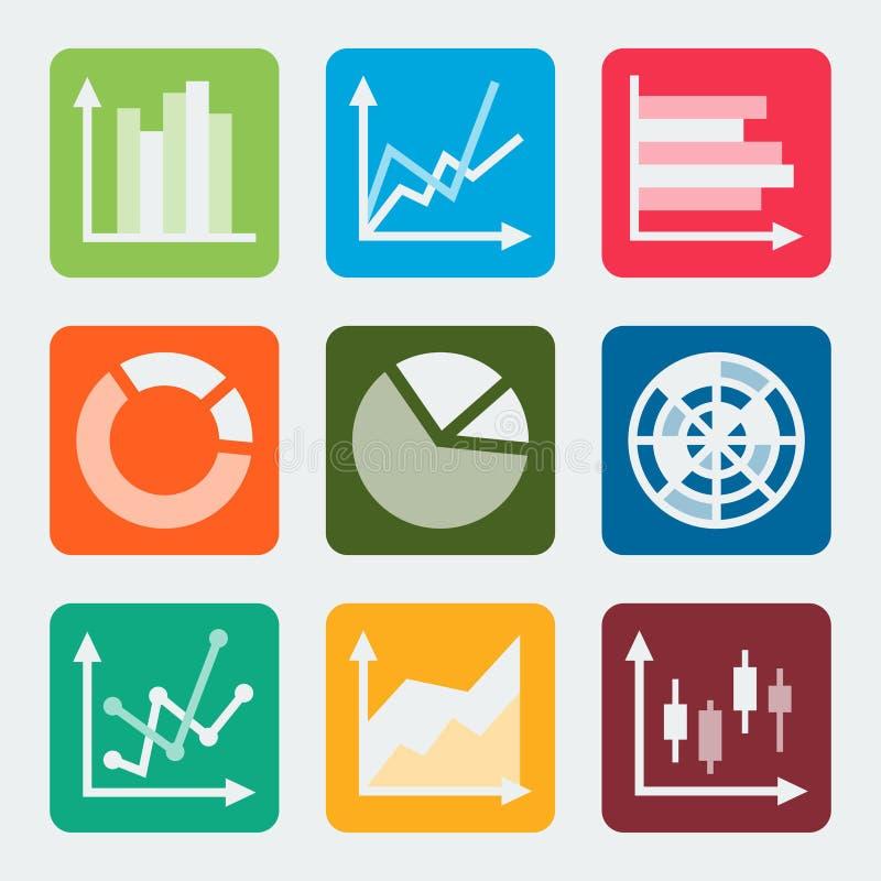 Los diagramas, gráficos, trazan iconos del vector libre illustration
