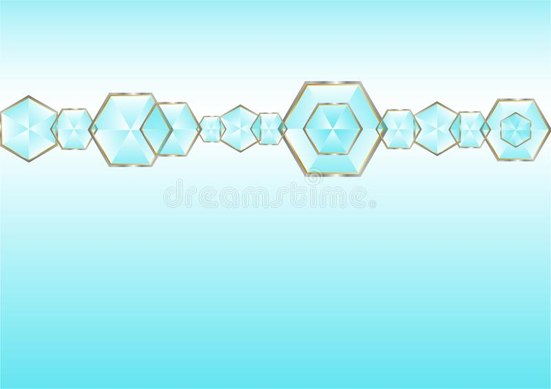 Los diamantes brillantes abstractos alinean en fondo azul en colores pastel libre illustration