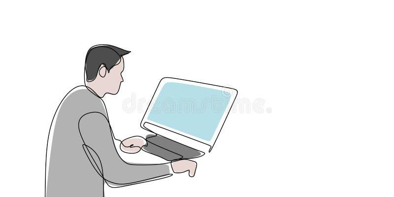 los dibujos lineales continúan trabajando delante del ordenador stock de ilustración