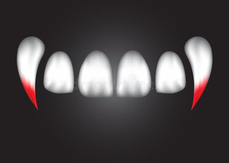 Los dientes abstractos del vampiro con la sangre, EPS 10 ilustración del vector