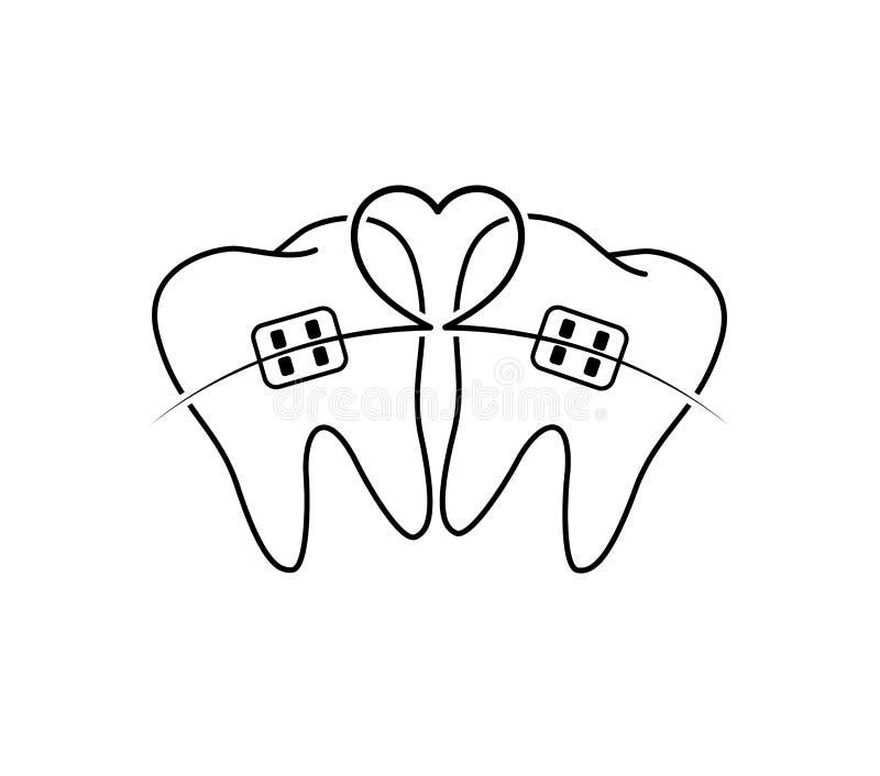 Los dientes con el icono de los apoyos diseñan con la línea de corazón ilustración del vector