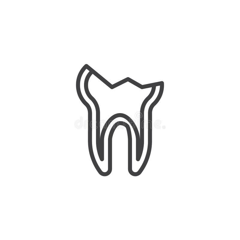 Los dientes decaídos alinean el icono stock de ilustración