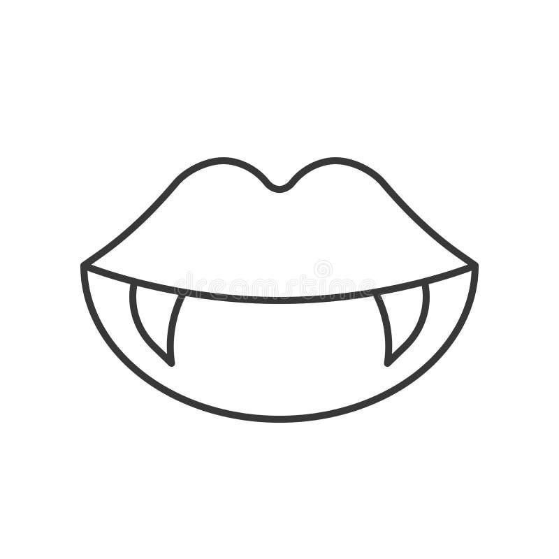Los dientes del vampiro, Halloween relacionaron el icono, diseño s editable del esquema stock de ilustración