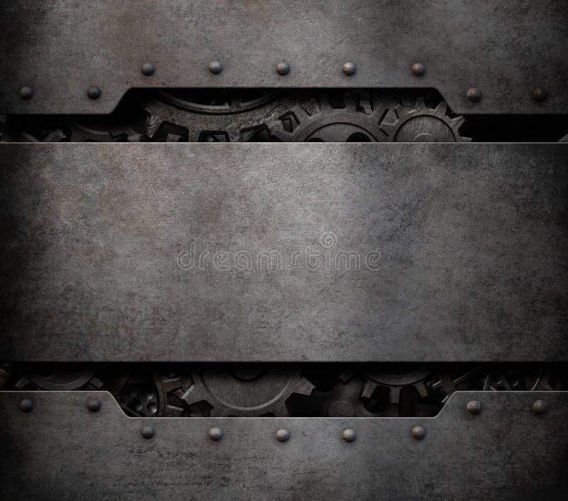Los dientes y las ruedas de engranajes cuecen el ejemplo punky del fondo al vapor 3d de la tecnología libre illustration