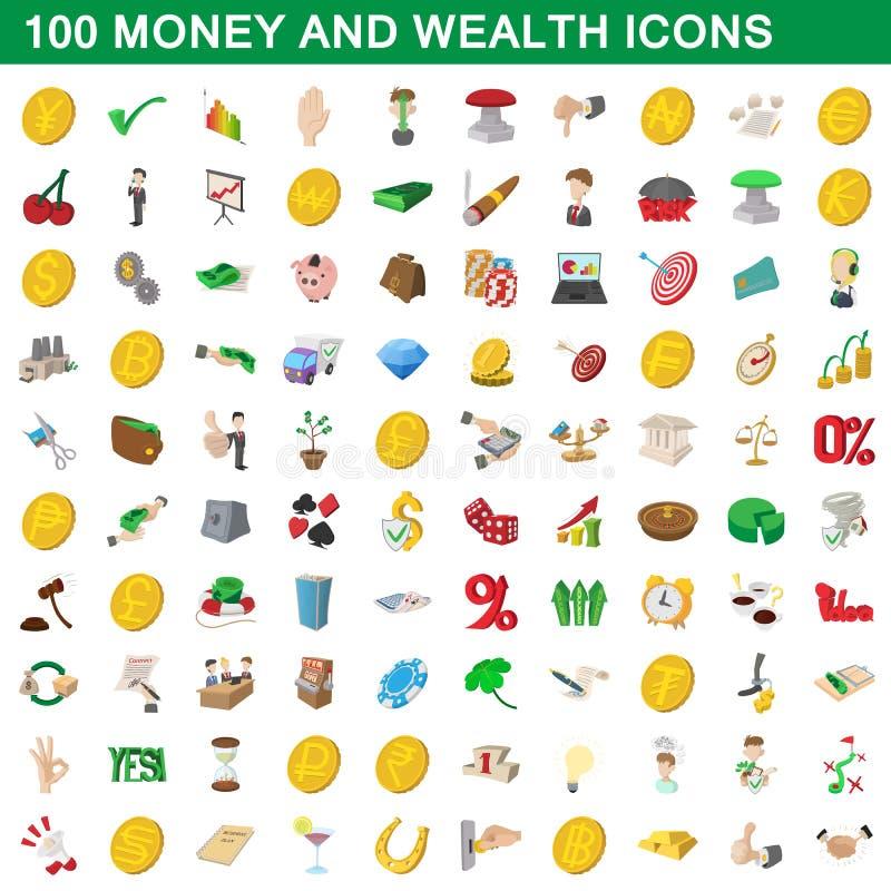 100 los dineros e iconos de la riqueza fijaron, estilo de la historieta libre illustration