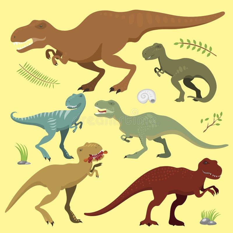 Los dinosaurios asustadizos vector el ejemplo extinto prehistórico despredador jurásico salvaje de la fuerza de la criatura del p stock de ilustración