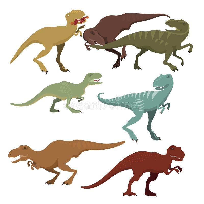Los dinosaurios asustadizos vector el ejemplo extinto prehistórico despredador jurásico salvaje de la fuerza de la criatura del p libre illustration