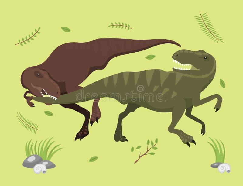 Los dinosaurios asustadizos vector el ejemplo extinto prehistórico despredador jurásico salvaje de la fuerza de la criatura del p ilustración del vector