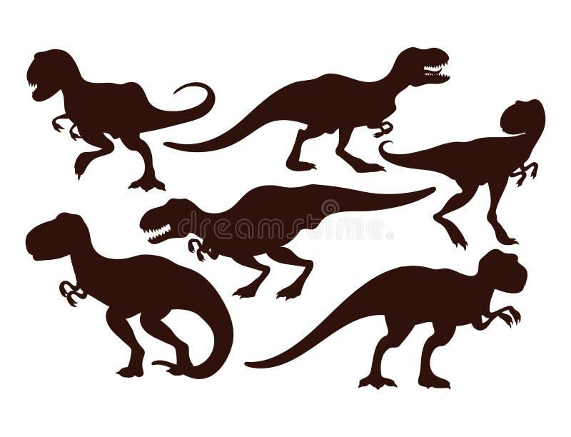 Los dinosaurios asustadizos vector prehistórico despredador jurásico salvaje de la silueta del tiranosaurio del t-rex del peligro ilustración del vector