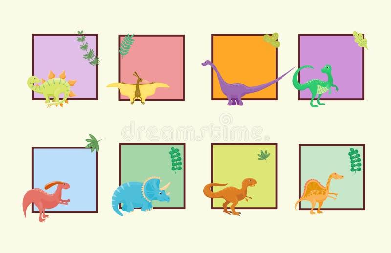 Los dinosaurios de la historieta vector el depredador prehistórico animal del reptil del carácter de Dino de la plantilla de la t stock de ilustración