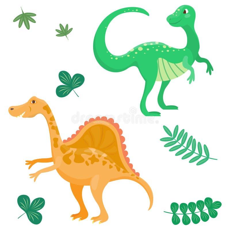 Los dinosaurios de la historieta vector jurásico despredador aislada ejemplo de Dino del monstruo del reptil prehistórico animal  stock de ilustración