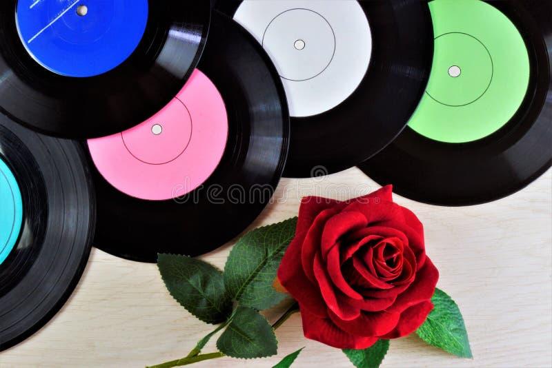 Los discos de la ronda del vinilo, subieron la reina de la flor - música de fondo retra para los discos del club Expediente de gr imagenes de archivo