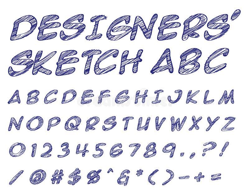 Los diseñadores bosquejaron el ABC ilustración del vector