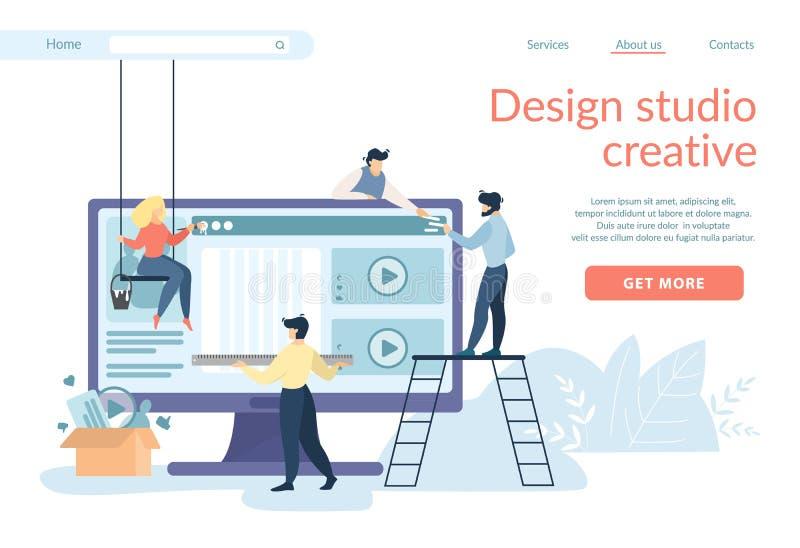 Los diseñadores que crean el interfaz del sitio, Ui, Ux se convierten ilustración del vector