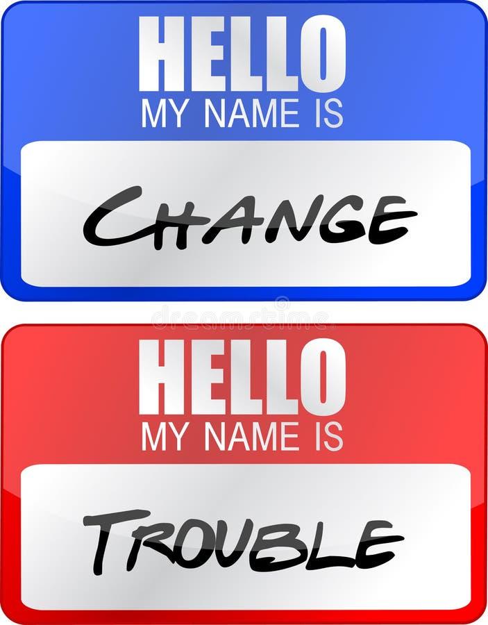 Los diseños conocidos cambie y de la ilustración de las etiquetas del apuro stock de ilustración