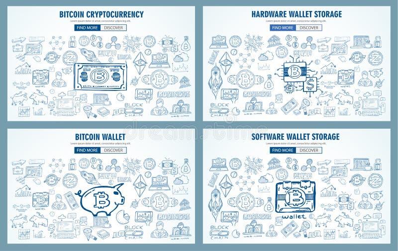 Los diseños dibujados mano del garabato del concepto de Cryptocurrency tienen gusto: blockchai