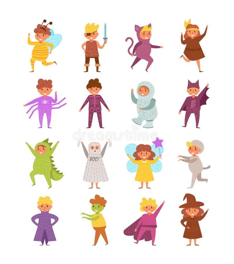 Los disfraces de Halloween del ` s de los niños fijaron vector de la colección historieta Arte aislado en blanco stock de ilustración