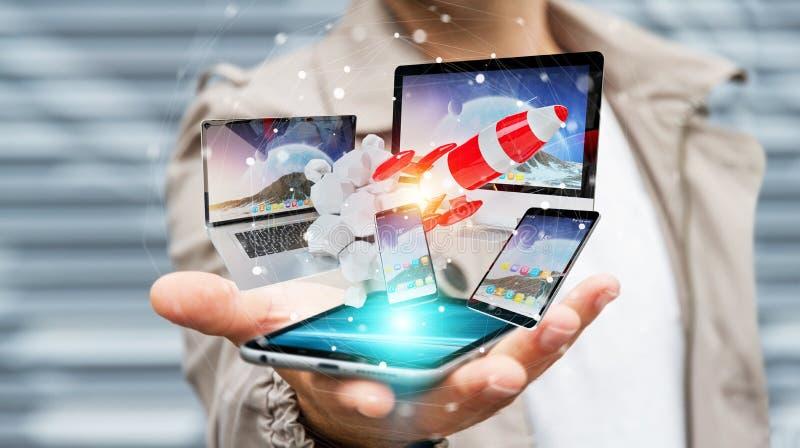 Los dispositivos de conexión y el cohete de lanzamiento 3D de la tecnología del hombre de negocios rinden libre illustration
