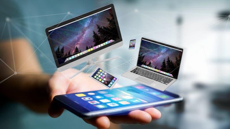 Los dispositivos les gusta el smartphone, de la tableta o del ordenador volando sobre connecti imagen de archivo libre de regalías